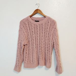 AEO Lilac/Lavender Chinelle Cable Knit Sweater